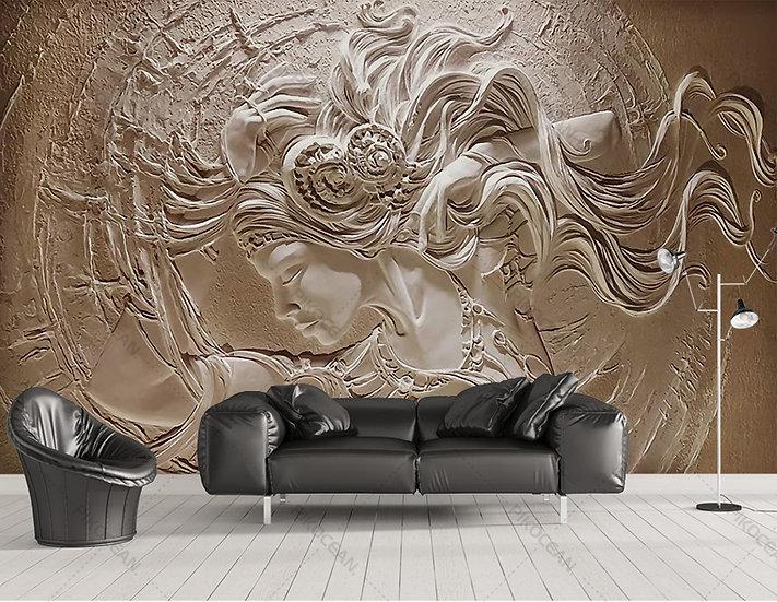 3D Kabartmalı Güzellik Duvar Kağıtları | Bayan Kuaförü Dekorasyon Duvar Kağıdı