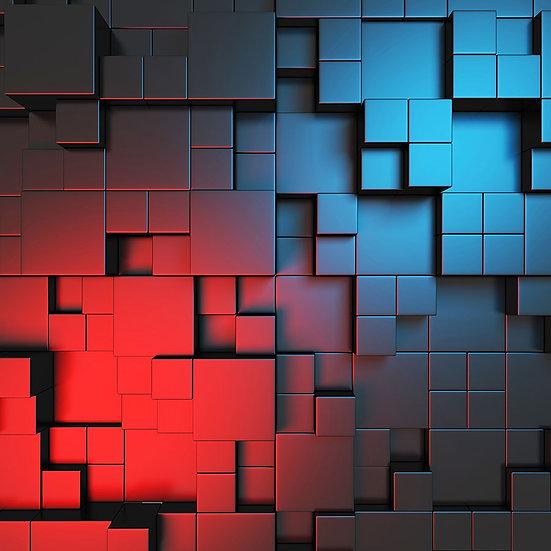 3 Boyutlu Fayans Dizayn Duvar Kağıdı | Küp Tasarım Duvar Kağıtları | Hatay