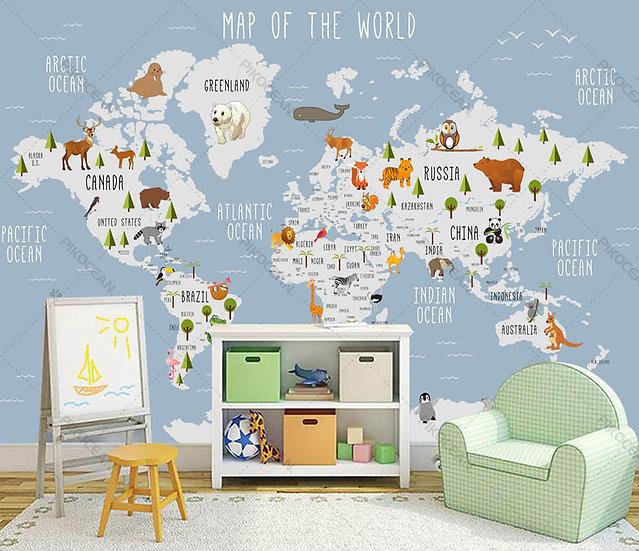 3D Dünya Haritası Duvar Kağıtları   Kabartmalı Özel Harita Duvar Kağıtları