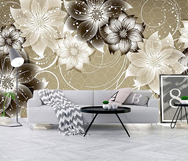 Takı Mücevher Çiçek Duvar Kağıtları | 3D Karahindiba Kabartmalı Duvar Kağıtları