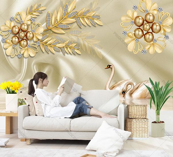 3 Boyutlu Oturma Odası Duvar Kağıtları | En İyi Lüks Altın Kuğu Duvar Kağıtları