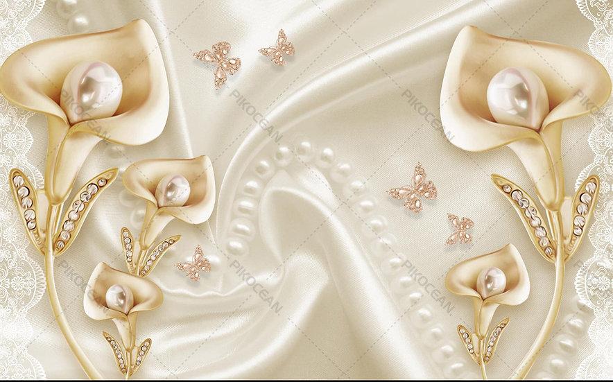 3 Boyutlu Lale Mücevher Duvar Kağıtları   En Kaliteli Tv Ünitesi Duvar Kağıdı