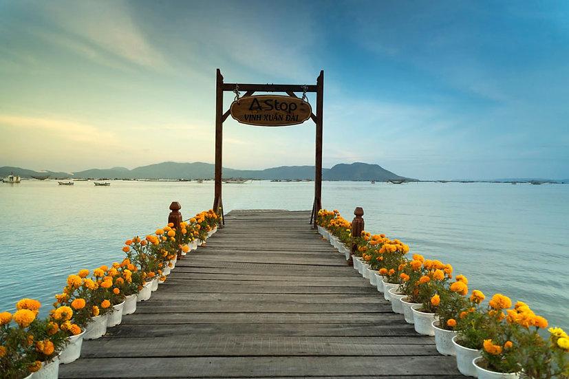 Çiçekli Tahta İskele Güneş Duvar Kağıtları | 3 Boyutlu Göl Manzara Duvar Kağıdı