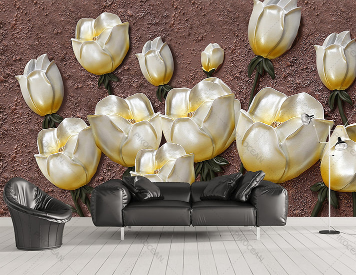 3D Altın Lale Duvar Kağıtları | Kabartmalı Lale Çiçekleri Duvar Kağıtları