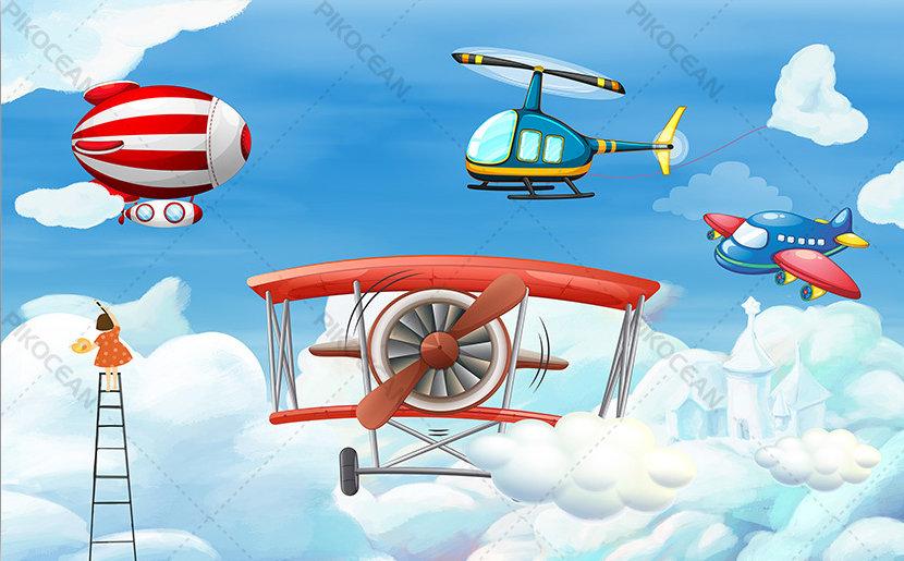 Hava Araçları Çocuk Odası Duvar Kağıtları | 3d Kabartmalı Yeni Duvar Kağıtları