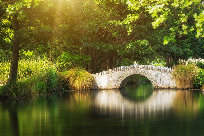 Nehir Taş Köprü Manzara Duvar Kağıdı | 3D Köprü Görseli Duvar Kağıdı Modelleri