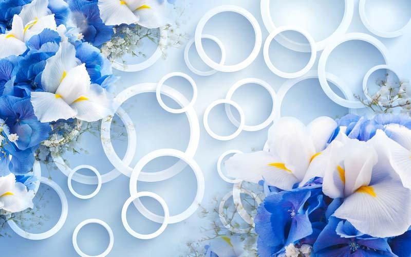 Üç Boyutlu Mavi Çiçek Duvar Kağıtları | Mutfak Dizayn Duvar Kağıdı Çeşitleri