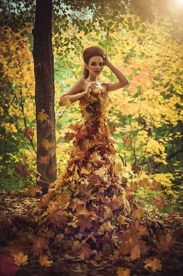 Yapraklardan Kıyafet Duvar Kağıtları | 3 Boyutlu Duvar Kağıdı Modelleri