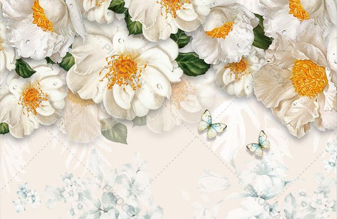 Taç Yaprağı Çiçekler Duvar Kağıtları | 3 Boyutlu Plazma Arkası Duvar Kağıtları