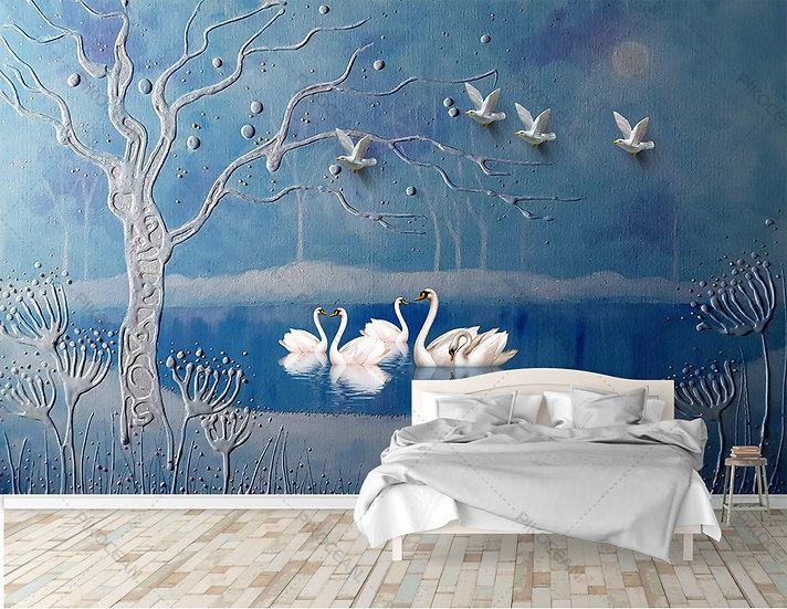 3D Taşlı Vadi Duvar Kağıtları   Kabartmalı Yatak Odası Duvar Kağıtları