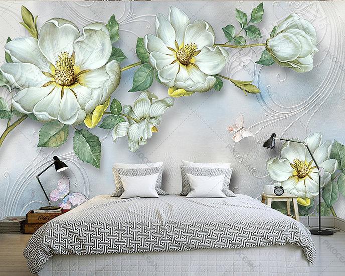 Kabartmalı Yeşil Çiçek Duvar Kağıdı   Üç Boyutlu Yatak Odası Duvar Kağıtları