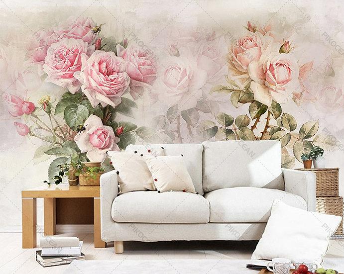 3 Boyutlu Tv ve Kanepe Arka plan Duvar Kağıdı | Özel Gül Çiçekleri Duvar Kağıdı