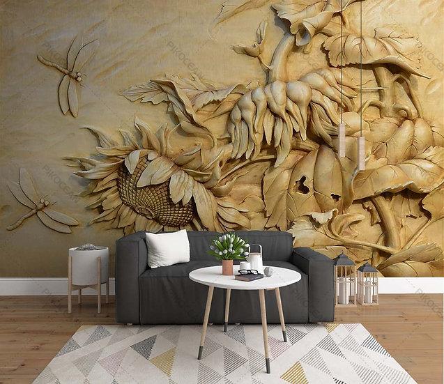 3D Stereo Kabartmalı Ayçiçeği Duvar Kağıtları | Yusufçuk Arka Plan Duvar Kağıdı
