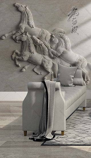 Kabartmalı Beyaz Atlar Duvar Kağıtları | 3D Beyaz At Duvar Kağıdı
