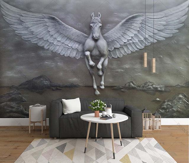 Kabartmalı Beyaz Pegasus Duvar Kağıtları | Yaratıcı At 3D Duvar Kağıdı