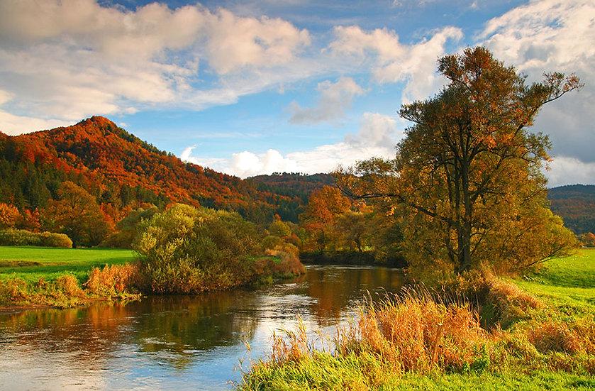 Nehir Manzaralı Duvar Kağıdı | Dağ Manzaralı Vadi Duvar Kağıdı | Duvar34.com