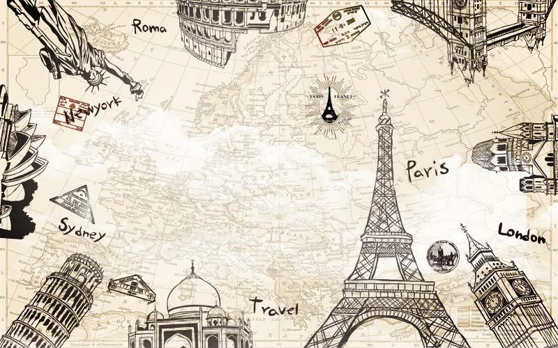 Eyfel Kulesi Tasarım Duvar Kağıtları | 3 Boyutlu Eskitme Duvar Kağıtları | Paris