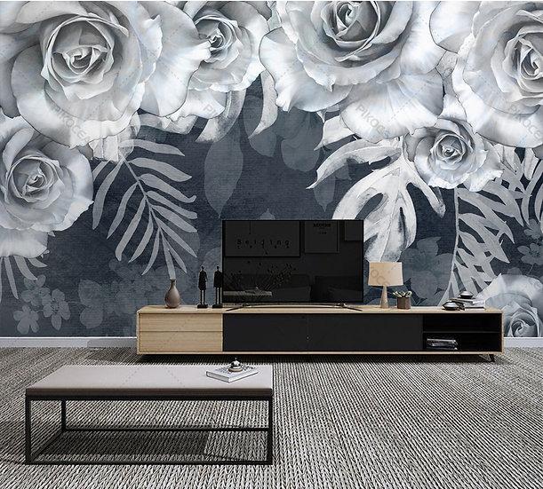 Beyaz Gül Çiçek Duvar Kağıtları | 3D Kabartmalı Gül Duvar Kağıtları