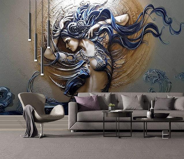 Kabartmalı Deniz Kızı Duvar Kağıdı | Üç Boyutlu Oturma Salonu Duvar Kağıtları