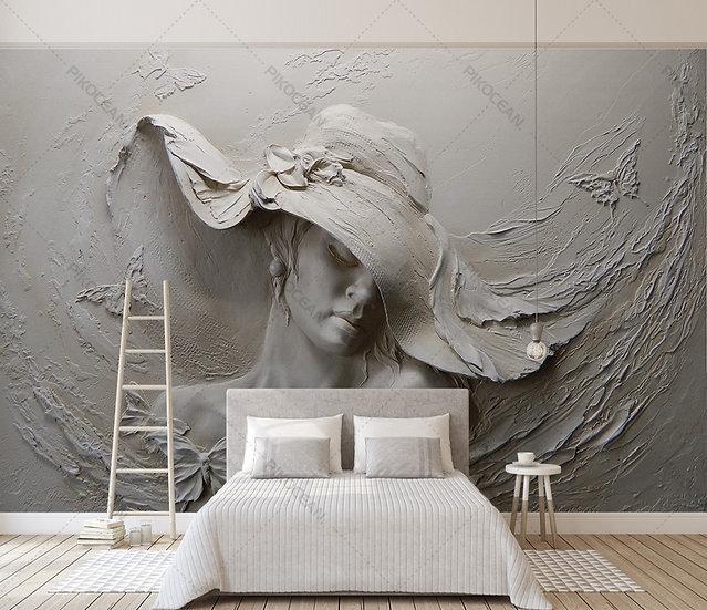 3D Güzellik Salonu Duvar Kağıdı | Kabartmalı Yatak Odası Duvar Kağıtları