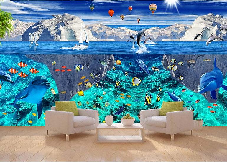 2019 Fantezi Denizaltı Dünyası Duvar Kağıtları | 3D Yunus Tema Ful Duvar Kağıdı