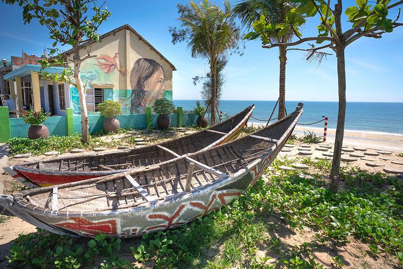 Tatil Kasaba Manzara Duvar Kağıtları   3 Boyutlu Sahil Teknesi Duvar Kağıdı