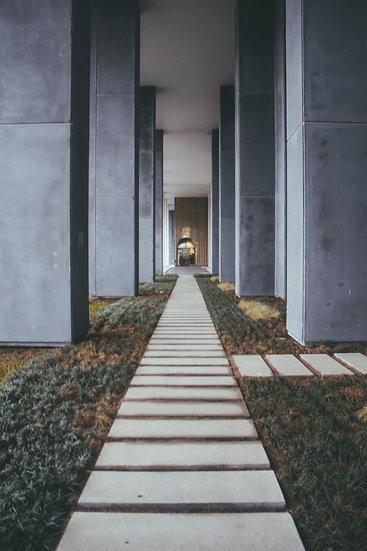 HD Bina Kolonları Arası Yol Duvar Kağıtları | 3 Boyutlu Dizayn Duvar Kağıtları