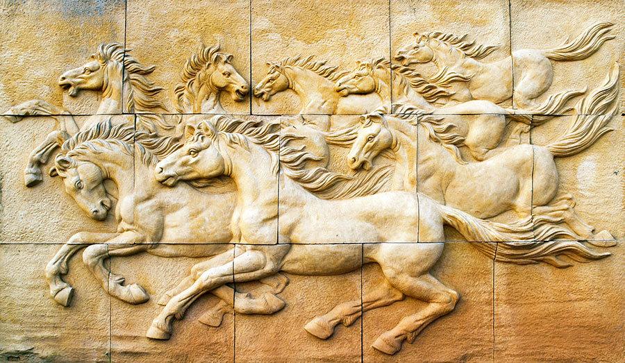 3 Boyutlu Atlar Duvar Kağıdı | Kabartmalı Atlar Taş Duvar Kağıtları