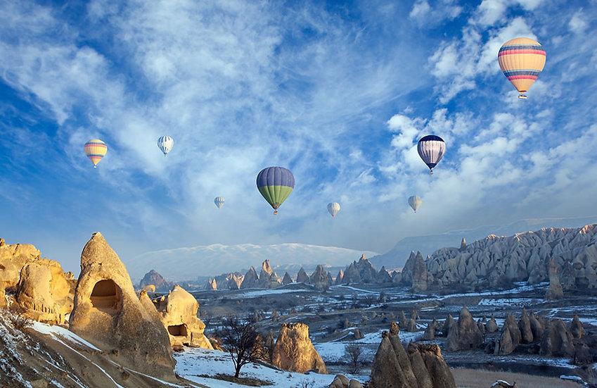 3 Boyutlu Duvar Kağıtları | Uçan Balon Manzara Duvar Kağıtları | Duvar34.com