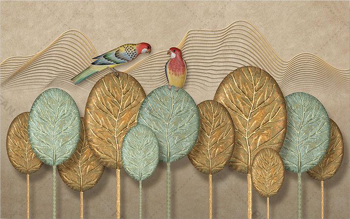 3D Altın Stereo Duvar Kağıtları | Kabartmalı Altın Yapraklar Duvar Kağıtları
