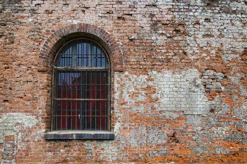 Pencereli Lekeli Tuğla Duvar Kağıtları | 3D Bursa Poster Duvar Kağıdı