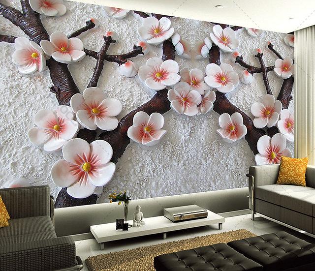 3 Boyutlu Stereo Plazma Arka plan Duvar Kağıdı | Erik Çiçeği Duvar Kağıtları