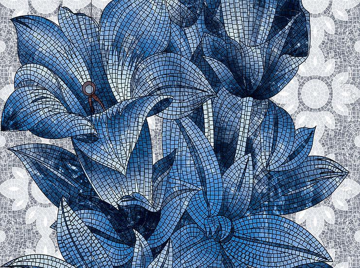 Lüks Mozaik Çiçeği Duvar Kağıtları | 3D Kabartmalı Mavi Çiçek Duvar Kağıdı