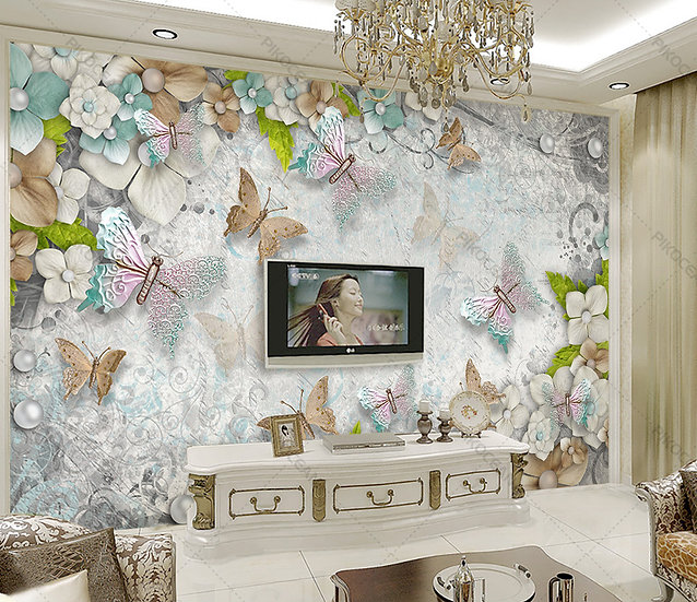 3 Boyutlu Özel Çiçek Duvar Kağıdı | Oturma Odası Tv Ünitesi Duvar Kağıdı