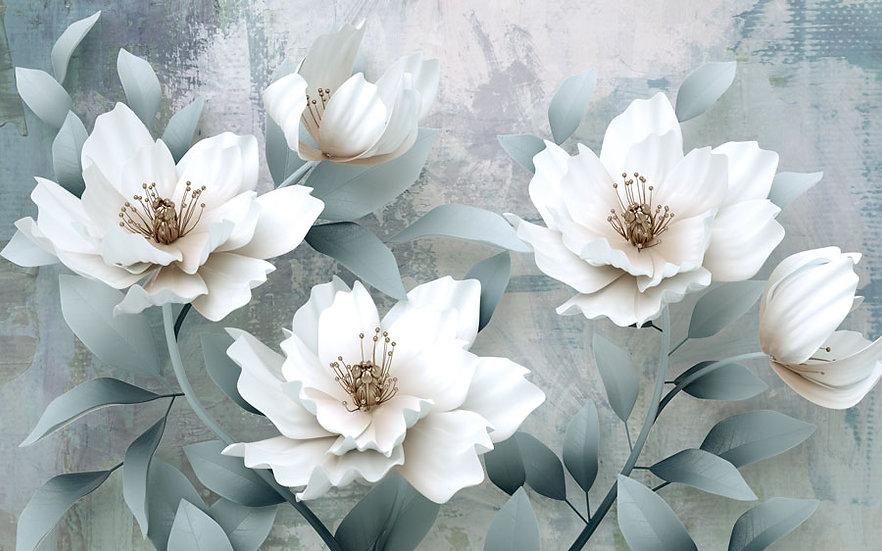 Kabartmalı Özel Tasarım Duvar Kağıdı | 3D Kabartma Çiçekleri Duvar Kağıdı