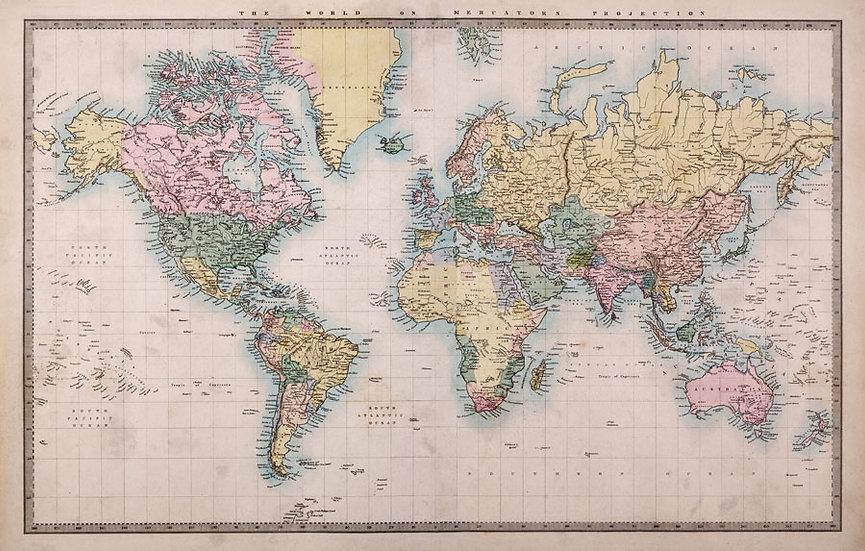 Renkli Dünya Map Planı Duvar Kağıtları | 3D Bursa Poster Duvar Kağıdı