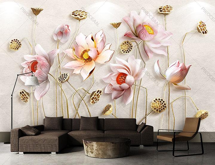 3D Pembe Çiçek Stereo Duvar Kağıtları   Kabartmalı Altın Çiçek Duvar Kağıtları