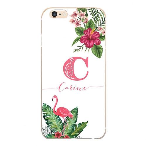 Capa Flamingo Floral com Nome - CS1086