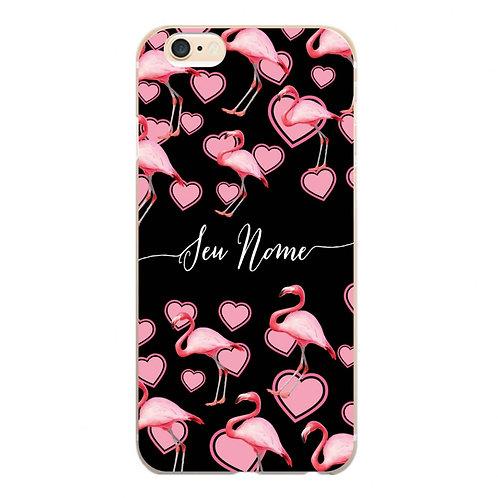 Capa Flamingo Corações Rosa com Nome - CS1113
