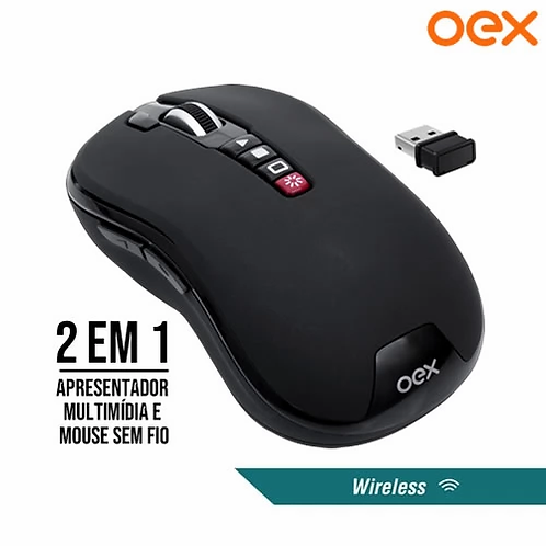 Mouse Sem Fio 2 em 1 Pointer Wireless 2.4Ghz 1200Dpi + Função Apresentador
