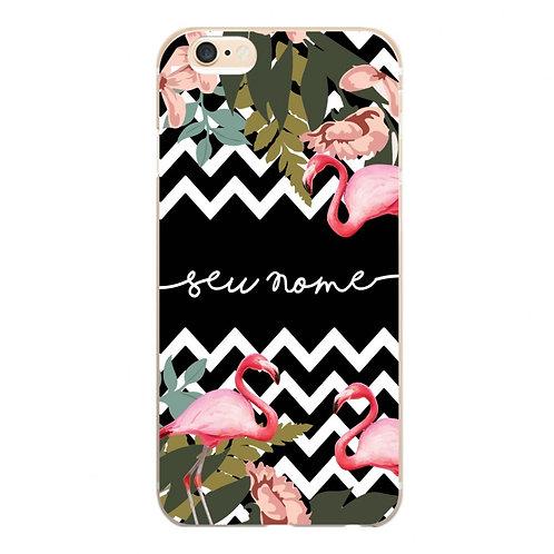 Capa Flamingo Floral Zig Zag com Nome - CS1114