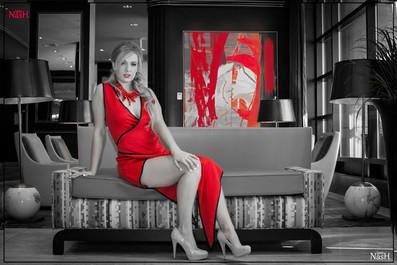 Allie Marshall modeling Samuel Vartan design in the Marilyn Riseman Runway Show
