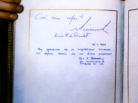 Lota, Chile - signed a visitors book next to Pres. Augusto Pinochet
