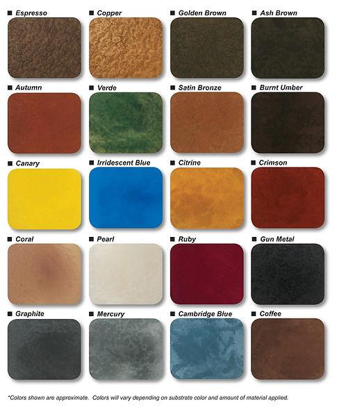 Metallic Epoxy Color Chart
