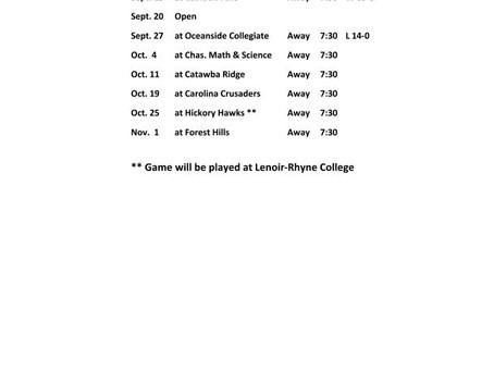 2019 Legion Football Schedule