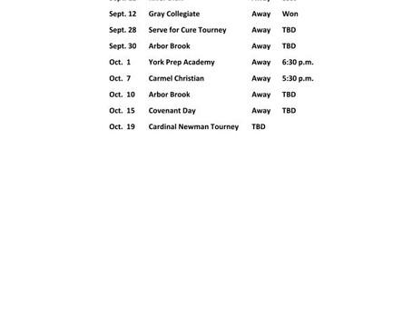 2019 Volleyball Schedule