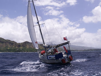 Before Adrian Flanagan became a sculptor of bronze wildlife sculptures he sailed singlehanded round-the-world  and here he is arriving in Honolulu aboard his yacht.