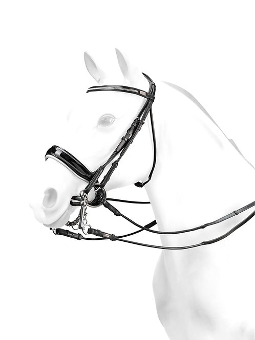 Rolled Double Bridle with Svarowski browband and white padding