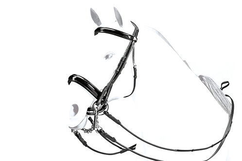 Patent Rolled Double Bridle with Reins