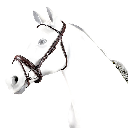 Rolled Snaffle Bridle with patent detail